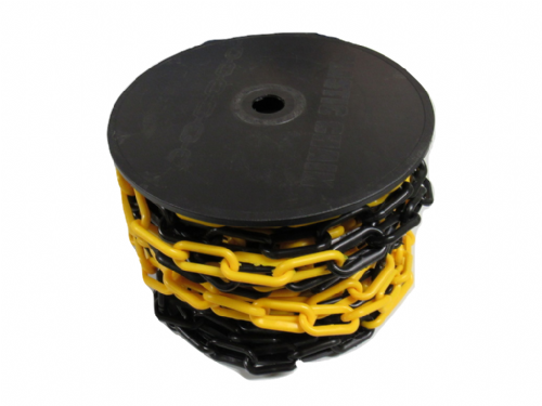 Yellow Black Plastic Chain Links 10MM x 20M (Garden Decorative Safety Barrier)